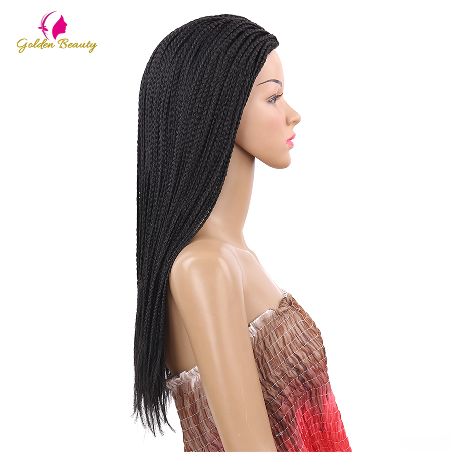 Image 3 - Golden Beauty 22inch Long Braided Box Braids Wig Natural Black Brown Synthetic Braiding Hair Wig for African Women-in Synthetic None-Lace  Wigs from Hair Extensions & Wigs