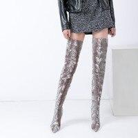 עור פיתון אפור האופנה אור חדש נשים מעל מגפי הברך 2018 נקבה נייט מגפי ירך עקב גבוה גברות חמות Size41