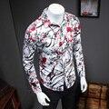 Buena Calidad Impreso FLoral Camisa de Los Hombres 2016 Nueva Moda Plus Size Slim FIt Camisas Para Hombre de Manga Larga camisa masculina