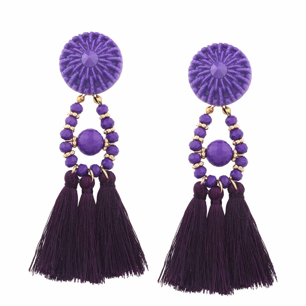 2018 Brand Boho Drop Fringe Earring Vintage ethnic Statement Tassel earrings for Women fashion jewelry Charms 6 colors CED214