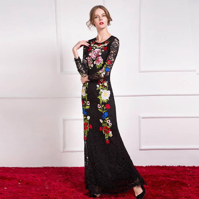 63a64bf24b73f placeholder High Quality Runway Designer Maxi Long Dress Women s vintage  Floral Emborided Long Sleeve Black Lace Sheath