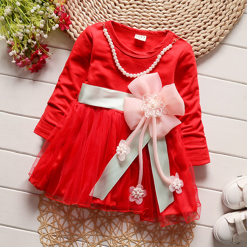 2017 Baby Girls Dress Big Bowknot Infant Party Dress for Toddler Girls Cotton Clothes+Beaded Baptism Clothes Tutu Dresses