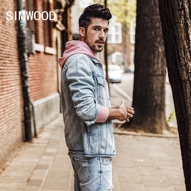 Simwood 2018 Autumn Denim Jacket Men Fashion Jeans Jackets Slim Fit