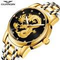 Relogio masculino Подлинная GUANQIN мужские Часы лучший бренд класса люкс Золотой Дракон Скульптура кварцевые часы мужчин полный Сталь наручные часы