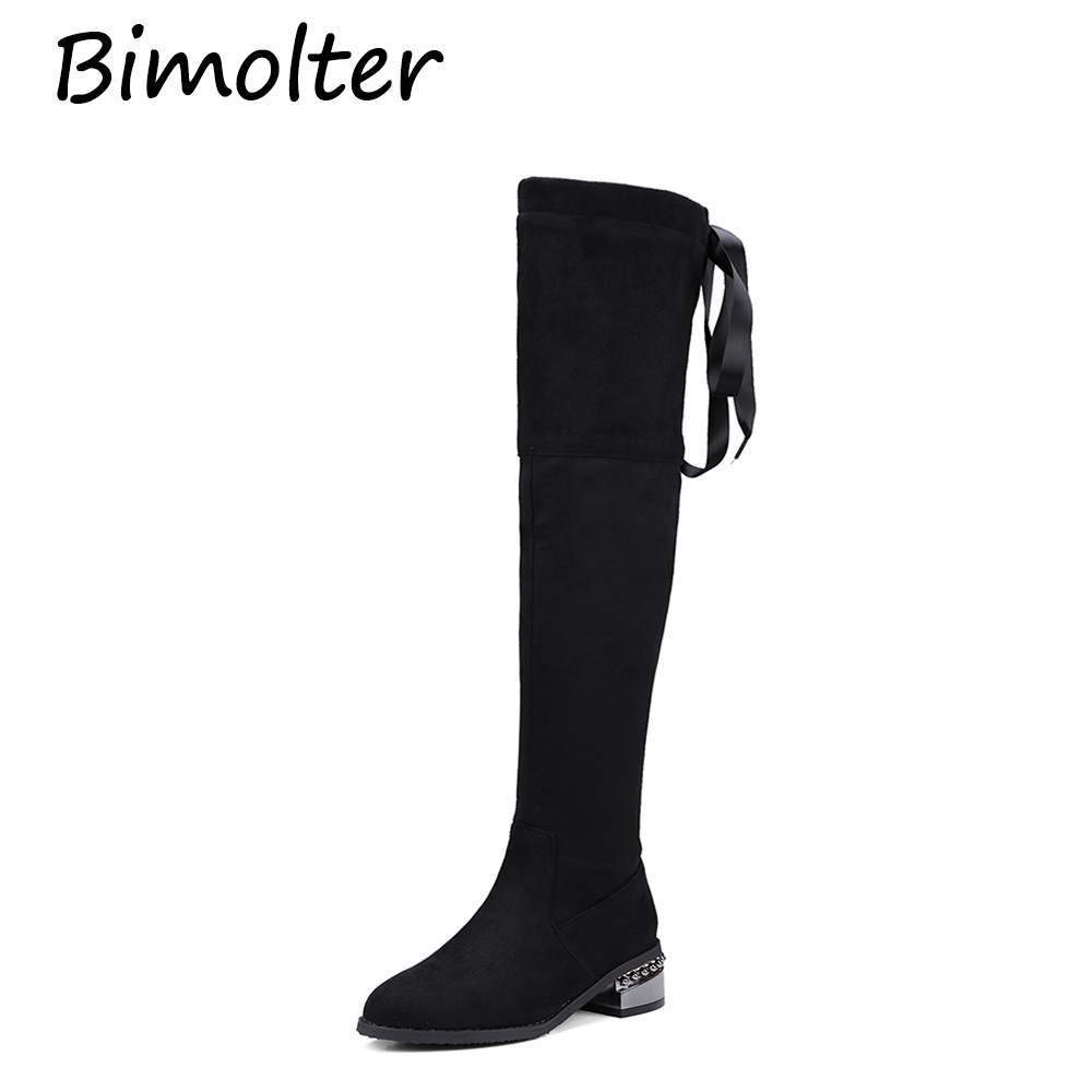 Bimolter 2018 New Ladies Square Low Heel Women Over The Knee Boots Flock Black Pointed Toe Ribbon Sexy Boots Size 32 43 PAEA024 in Over the Knee Boots from Shoes
