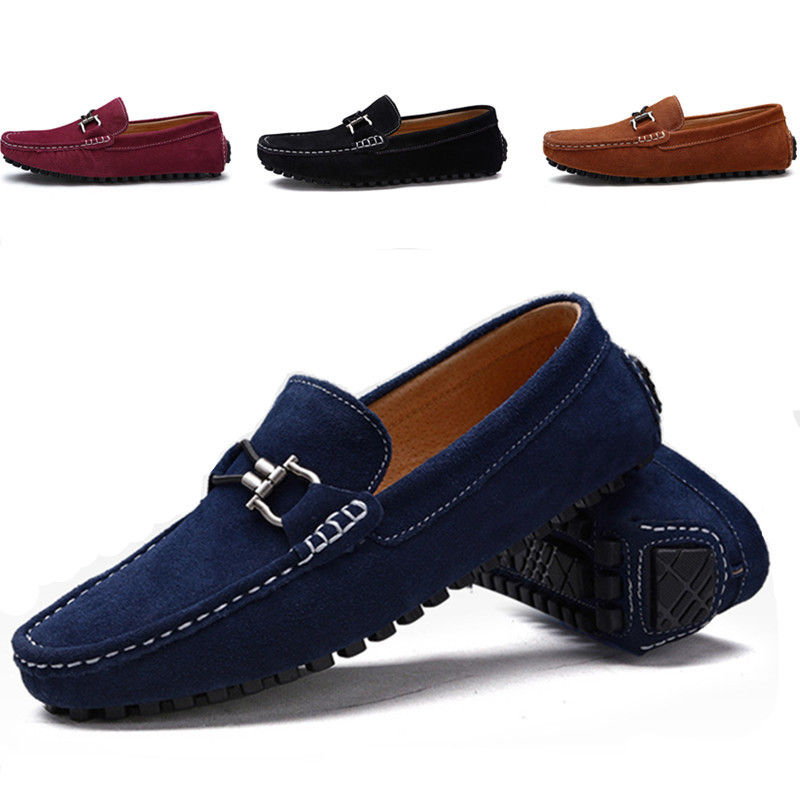 2016 Plus Size Men Loafer Shoes Trendy Genuine Leather Slip-on Men's Loafers Vintage Style Men Casual Shoes Free Shipping 0022 branded men s penny loafes casual men s full grain leather emboss crocodile boat shoes slip on breathable moccasin driving shoes