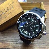 Luxury Brand New Мужские Часы Кварцевый Хронограф Секундомер Нержавеющей Стали Часы Сапфир Розовое Золото Серебро Белые Резиновые Часы