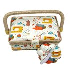 D&D Storage Box Cotton Fabric Crafts Sewing Basket With a Pin Cushion DIY 19*13*10cm Sewing Box