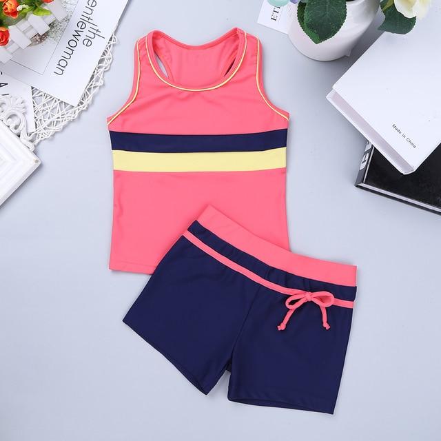 Children Swimwear Girl Two piece Swimsuit Girls Kids Bikini Bathing Suit Tankini Sport Vest Tops with Bottoms Shorts SZ 6 to 14