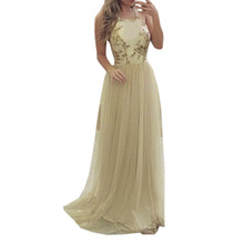Women Sexy  Bandage Sleeveless Halter Neck Sequined Dress Cocktail Prom Gown