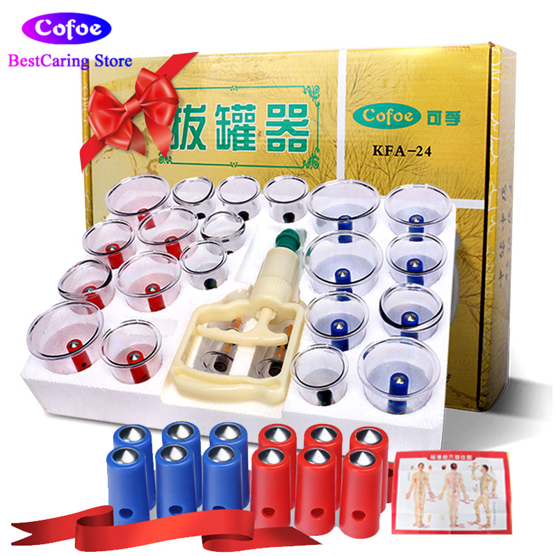 Cofoe Medical Plastic Vacuum Cuppings Chinese Cupping Therapy Set 24PCS Acupuncture Vacuum Suction Cups Kit for Body Massage body massage suction silicone cup set travel medical vacuum cupping cups chinese traditional therapy device kit size xl l m s