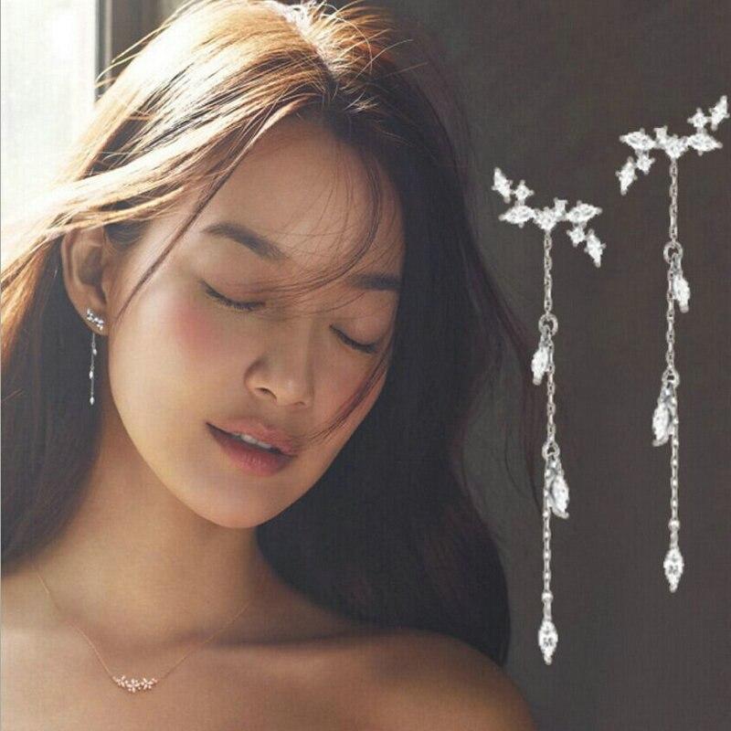Women Fashion Alloy Jewelry Leaves Long Tassel Dangle Ear Stud Drop Earrings