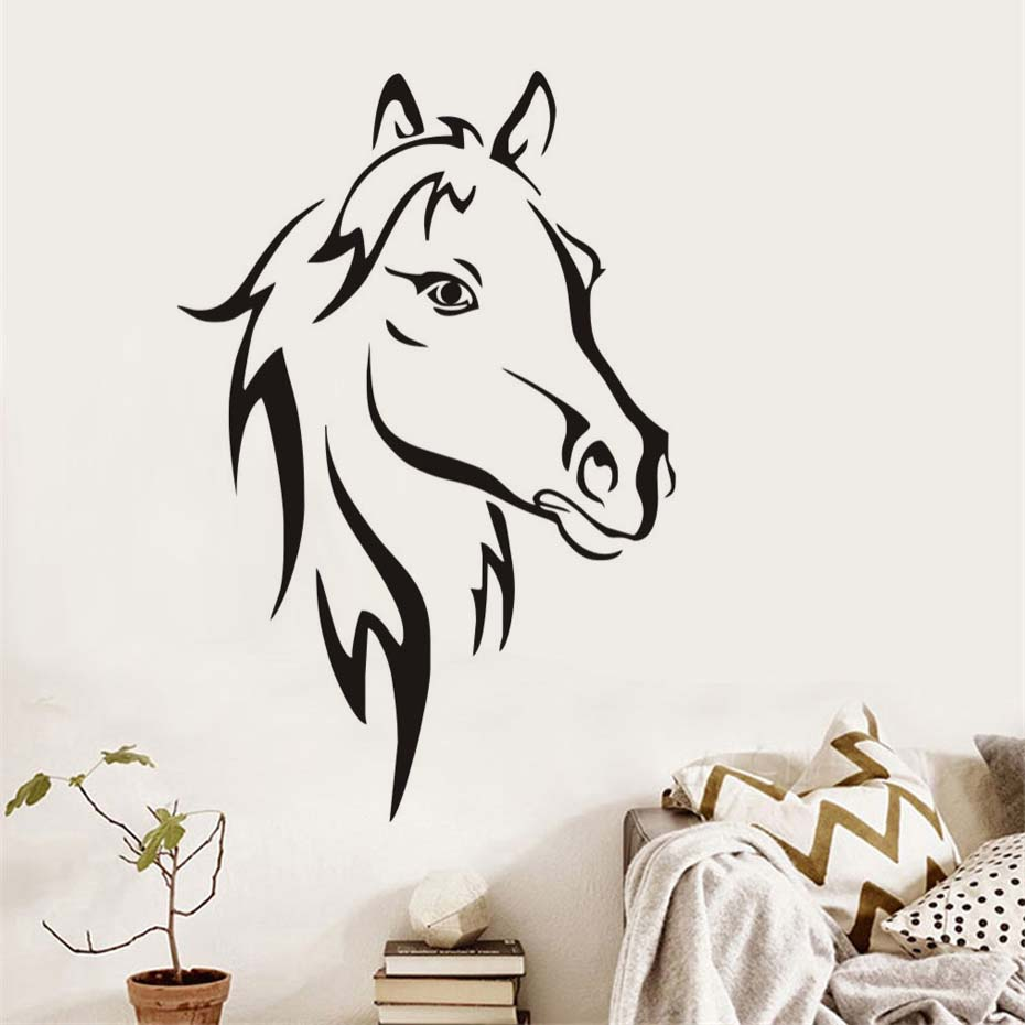 Horse Head Modern Wall Sticker Home Decor Removeable & waterproof