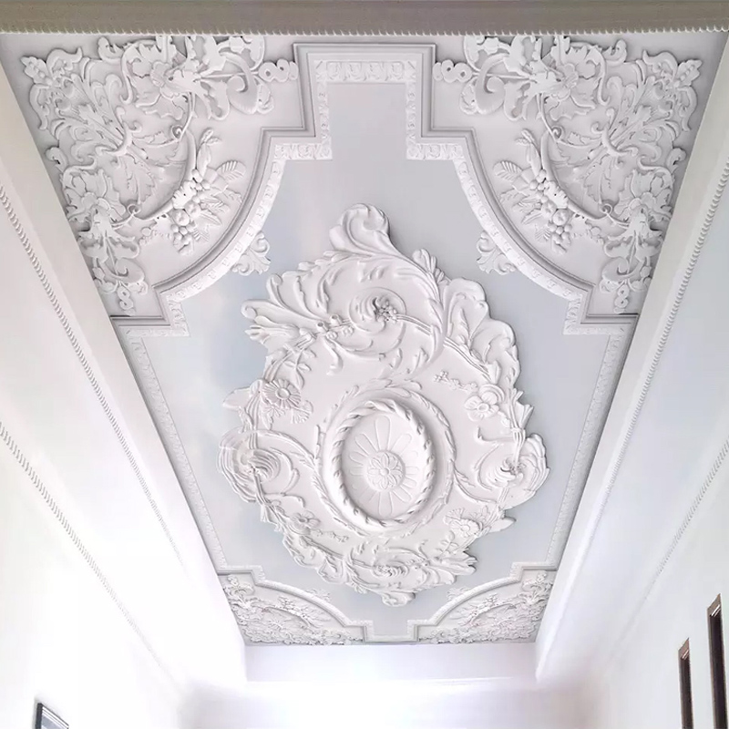 Custom Photo Wallpaper 3D European Style White Flower Pattern Living Room Ceiling Murals Wallpaper Bedroom Mural Papel De Parede