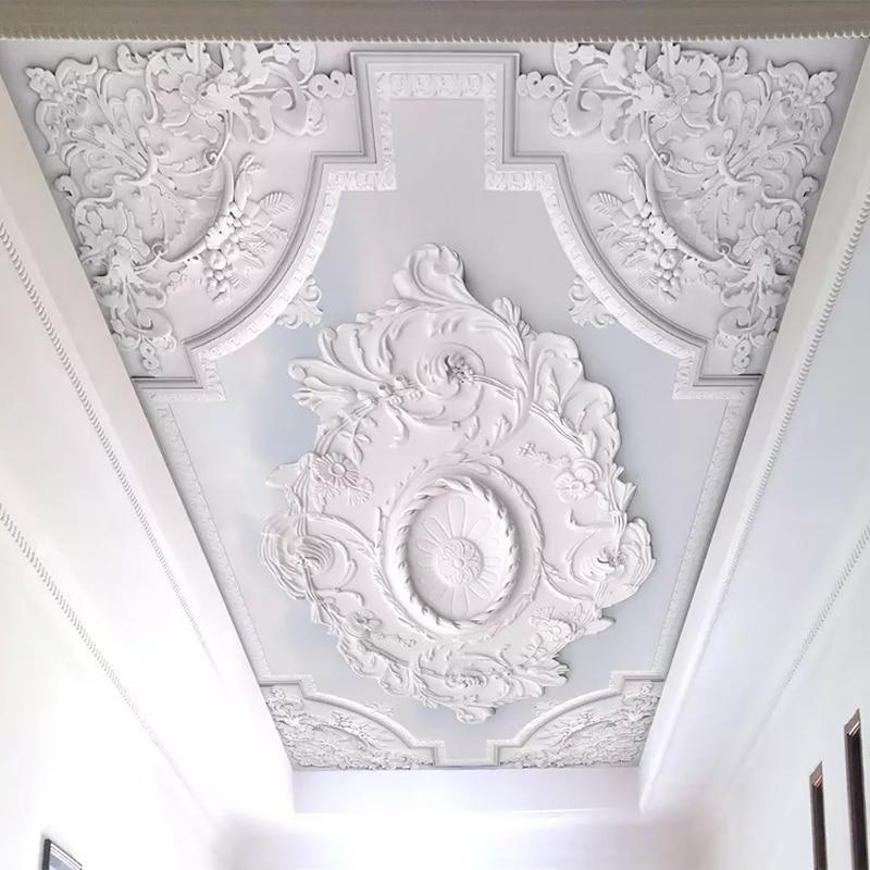 Custom Photo Wallpaper 3D European Style White Flower Pattern Living Room Ceiling Murals Wallpaper Bedroom Mural Papel De Parede