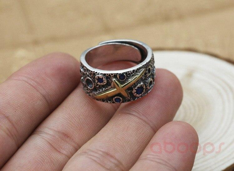 Dernière Vintage 925 en argent Sterling étoile ouverte anneau avec croix en or pour hommes garçons réglable livraison gratuite - 4