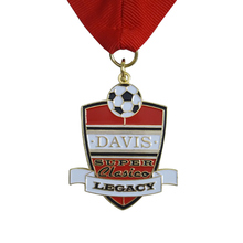 Zinc Alloy Custom Medal Quality Plating Brass with Ribbon Promotional Football