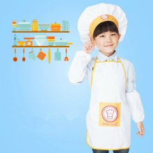Детские кулинарные костюмы, Детский фартук+ шляпа шеф-повара+ манжеты, набор, Детский костюм шеф-повара для рукоделия, художественная кулинарная выпечка, сделай сам, живопись SYT9611