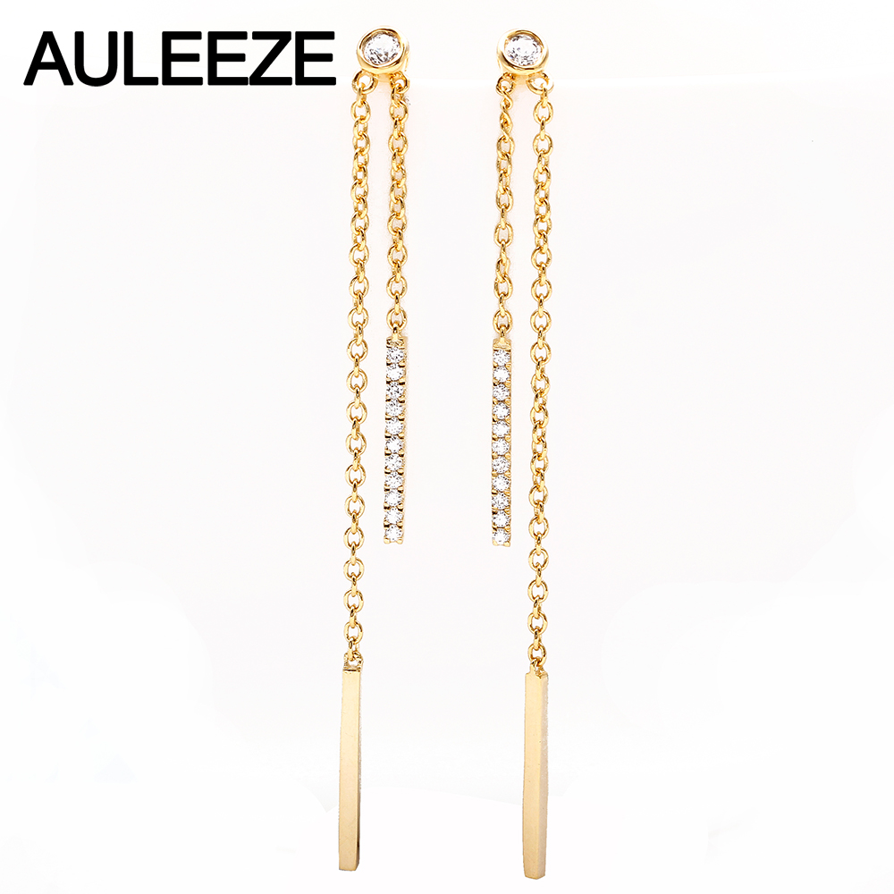 AULEEZE Real 18K Yellow Gold 0.22cttw Natural Diamond Long Tassels Earrings Drop Dangle Earrings for Women Wedding Jewelry yoursfs dangle earrings with long chain austria crystal jewelry gift 18k rose gold plated