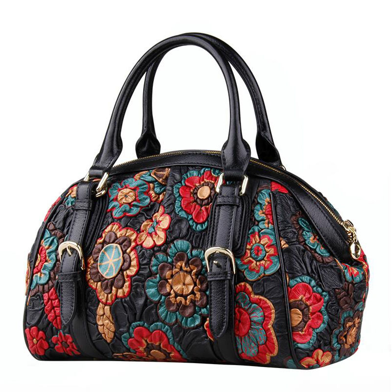 LUOFEIHUA Genuine Leather women bags for women  2019 New Embroidered Tote Bag Vintage Shoulder Crossbody Bag Designer bagLUOFEIHUA Genuine Leather women bags for women  2019 New Embroidered Tote Bag Vintage Shoulder Crossbody Bag Designer bag