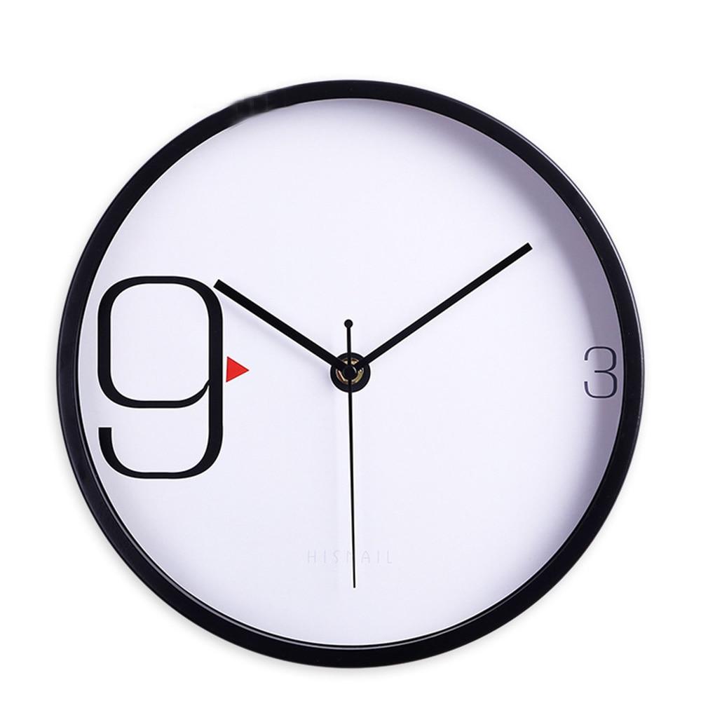 Moderne minimaliste en métal fer cadre Quartz verre horloges murales horloge murale ronde muet chambre montres décor à la maison