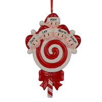 Lollipop Family Of 5 Resin Hang Christmas Ornaments With Glossy Baby Face As Craft Souvenir For