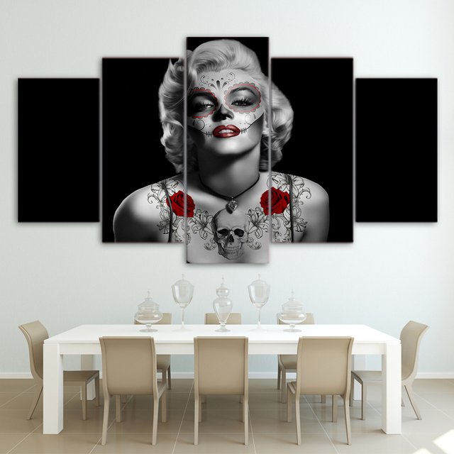 HD Printed Marilyn Monroe Tattoo Red Rose Painting Canvas Print ...