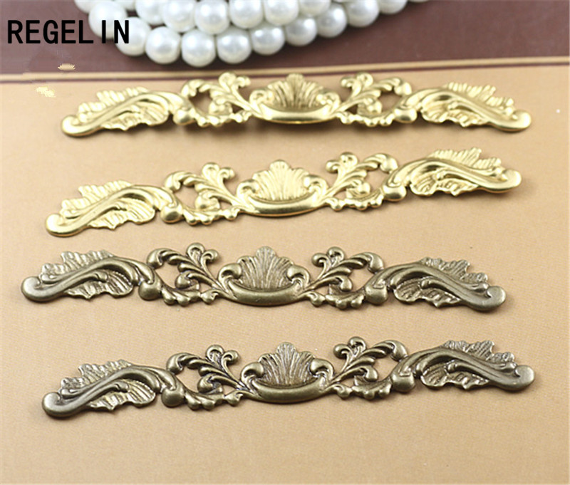 REGELIN Filigree Wraps Flower Connectors Metal Crafts Gift Decoration 20Pcs 6 Color 7*78mm DIY Findings Jewelry Making