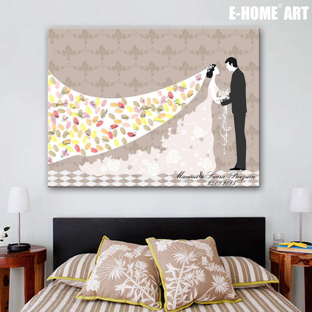 Wedding Gift Canvas Painting : Tree Signature Canvas Painting Bride Groom Wedding Gift wedding ...