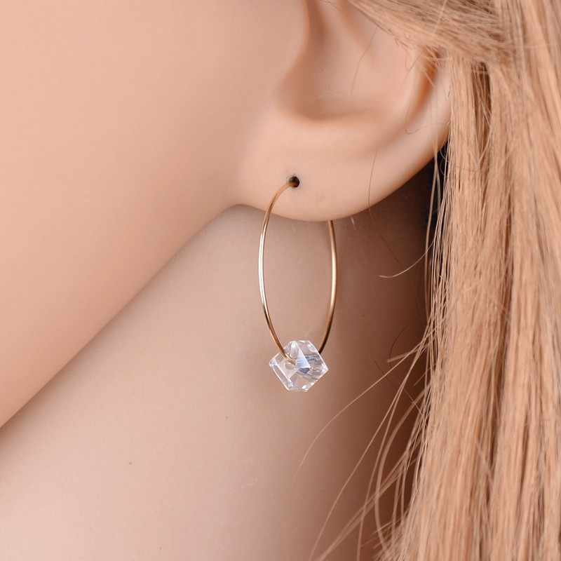 2019 New Earrings Fashion Jewelry Circle Imitation Pearls Transparent Earrings For Women Glass Women Gift Wholesale