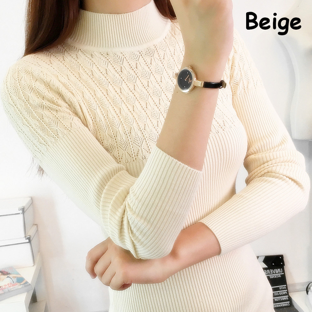 2017 Autumn Winter Women Sweaters and Pullovers Turtleneck Long Sleeve Sexy Slim Knitting Sueter Mujer Pull Femme Maglioni Donna