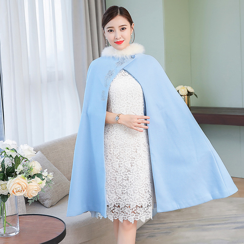 Nouvelle Laine Femelle Imperméable Longue Bleu Hiver Feminino Manteau Vent Automne Casaco Tranchée Pour Élégant Broderie Femmes Vêtements Eq5SRnw