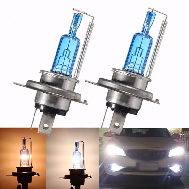 H4 35/35W Motorcycle Halogen Bulb Hi/Lo Beam 6000K P43t Scooter Moto Headlight Xenon Blue Glass Super White Motor Light Sourse
