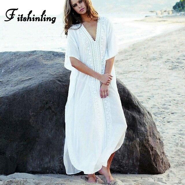 21e7908aec274 Ürün Açıklaması. Bir başlama için, bir Fitshinling Dantel splice uzun  elbise v boyun yan yarık maxi plaj giyim tatil bohemian seksi pareo yaz ...