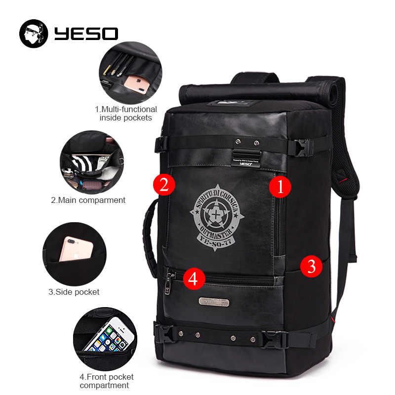 YESO новый большой Ёмкость путешествия рюкзак Для мужчин 2018 Многофункциональный черный рюкзаки для поездки Водонепроницаемый рюкзак для путешествий Сумки для Для мужчин