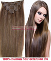 "O envio gratuito de 16 ""-32"" 8 pcs Set #6 Pedaços de Cabelo Macio Indiano Remy cabelo Clipe in/on Extenions Cabelo Humano 120g 140g 160g"