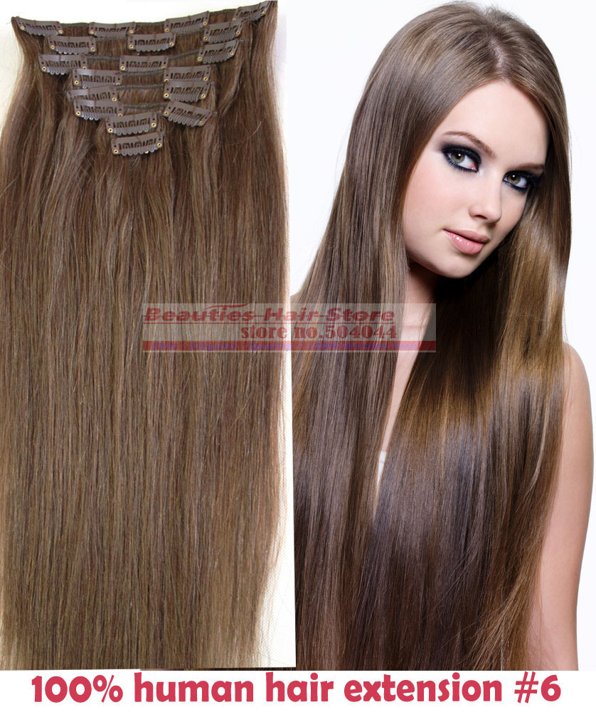 "free shipping 16""- 32"" 8pcs Set #6 Hair Pieces Soft Indian Remy hair Clip in / on Human Hair Extenions 120g 140g 160g"