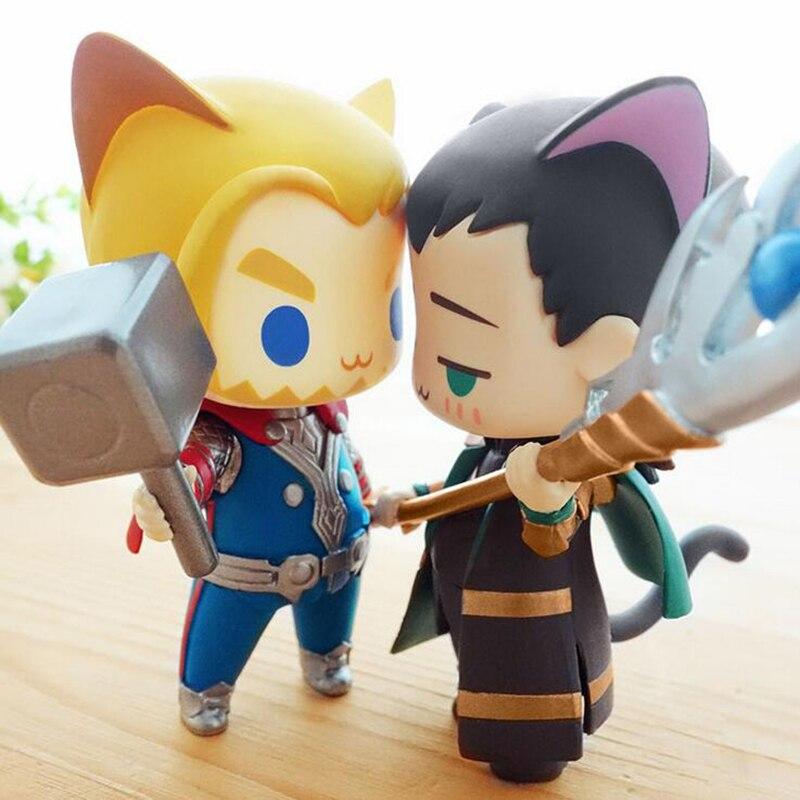 "Free Shipping Cute <font><b>4</b></font>"" Cat Version Super Hero Thor <font><b>Captain</b></font> <font><b>America</b></font> Winter Soldier Batman Loki Joker PVC Action <font><b>Figure</b></font> Model Doll"