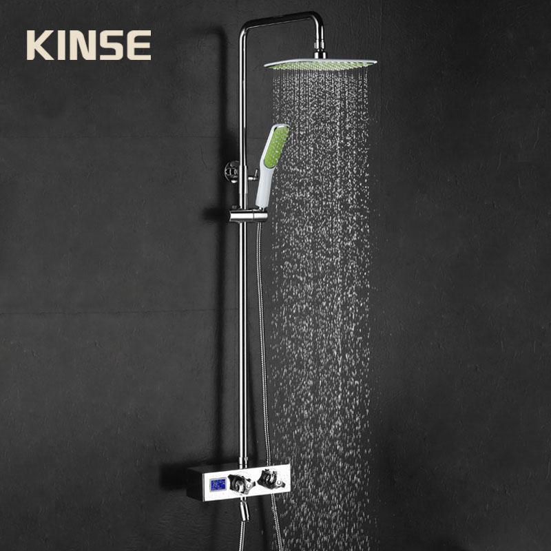 Bathroom Shower Faucet Thermostatic Shower Mixer Rainfall Valve Shower Set Tap With Hand Brass Shower Head Set Wall Mounted wall mounted two handle auto thermostatic control shower mixer thermostatic faucet shower taps chrome finish