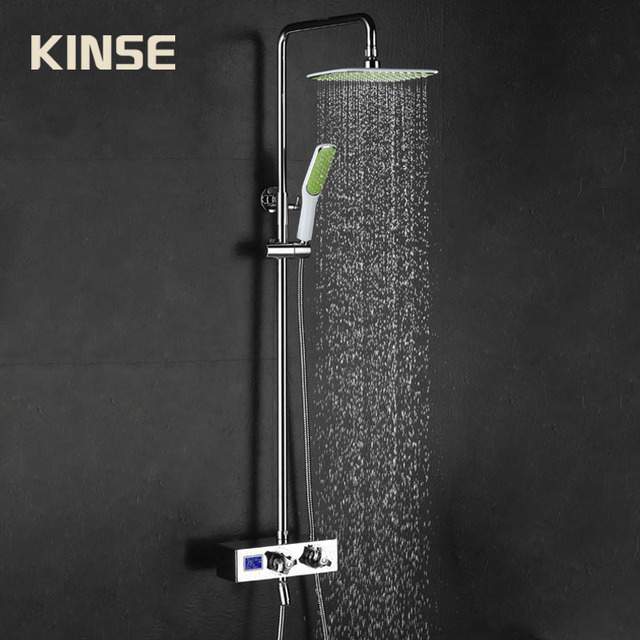 Bathroom Shower Faucet Thermostatic Shower Mixer Rainfall Valve Shower Set Tap With Hand Brass Shower Head Set Wall Mounted