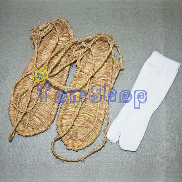 BLEACH COSTUMES HAND-MADE STRAW SANDALS SLIPPER SHOES + FREE SOCKS COSPLAY PROPS FREE SHIPPING