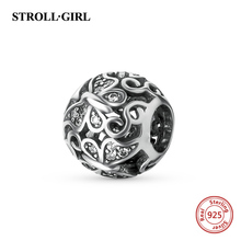 Fit Authentic Silver Pandora Bracelet 925 Original Charm Antique Beads Butterfly With Clear Jewelry Making Gift