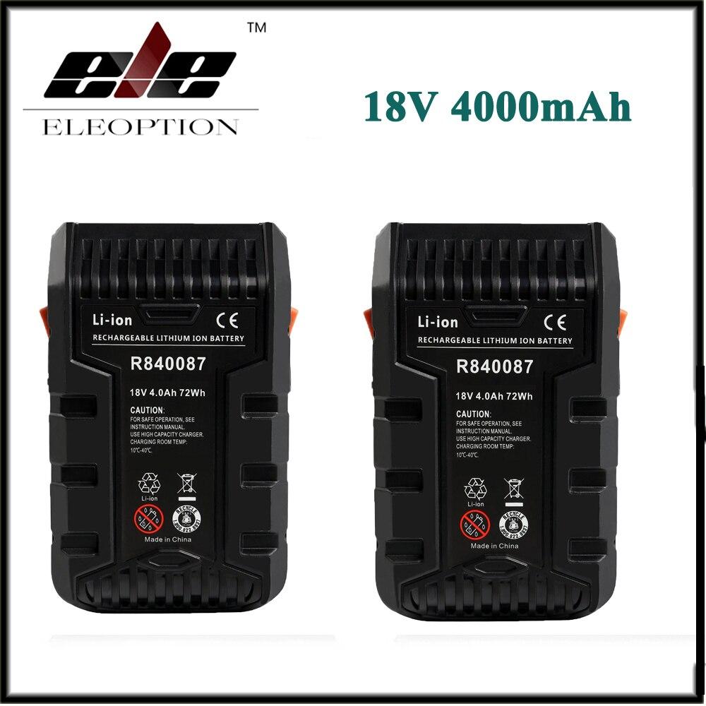 2x Eleoption 4000mAh 18V Li ion Rechargeable Power Tool Battery for RIDGID R840083 R840085 R840086 R840087