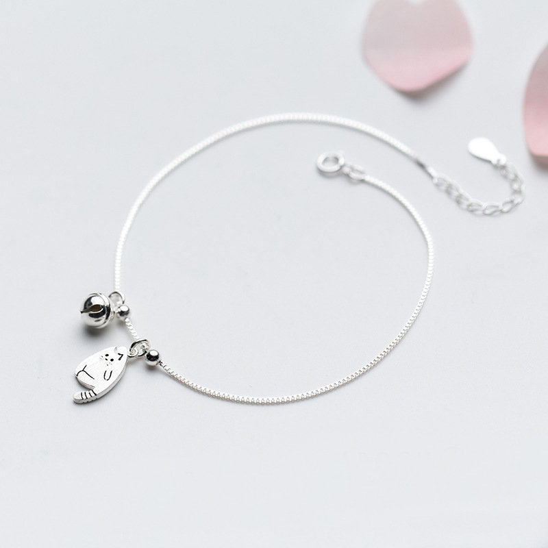 MloveAcc 925 Sterling Silver Anklet Women Barefoot Leg Chain Cute Cat & Bell Charm Beach Foot Jewelry