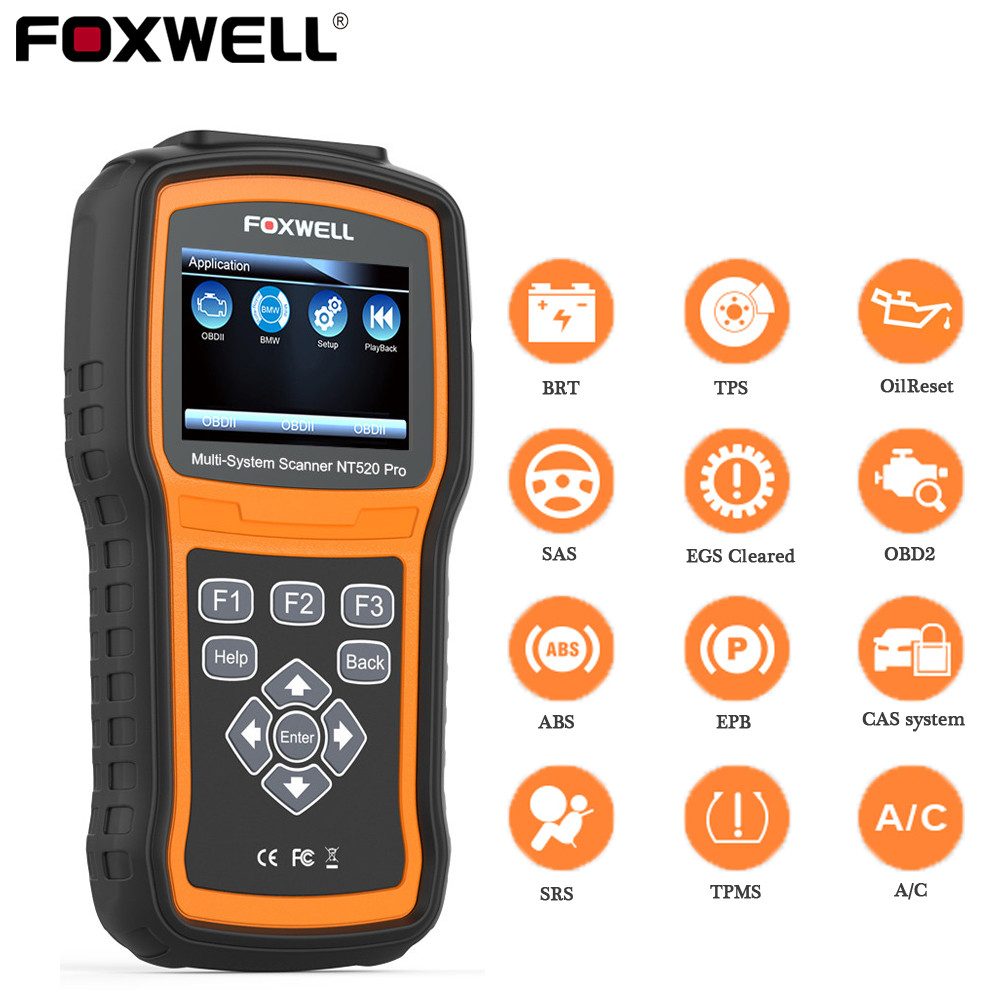 Foxwell NT520 Pro Auto Diagnostic Tool ABS Airbag SAS Transmission DPF Battery Registration Full System Code Reader OBD2 Scanner on