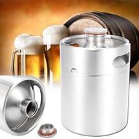 2L 304 Stainless Steel Mini Beer Keg Pressurized Growler Durable Portable Beer Bottle Home Brewing Beer Making Tool For Home Pub