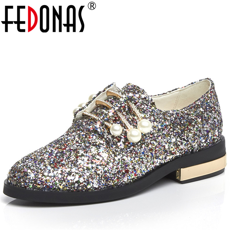 FEDONAS Fashion Women Night Club Party Pumps Round Toe Spring Autumn Shoes Pearl Metal Decoration Bling