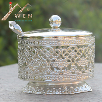 Free shipping New arrival Shiny silver plated coffee/suar/tea jars with spoon