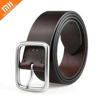 Original xiaomi mijia qimian seven faced cowhide leather simple casual belt 38mm wide men's aluminum buckle best gift