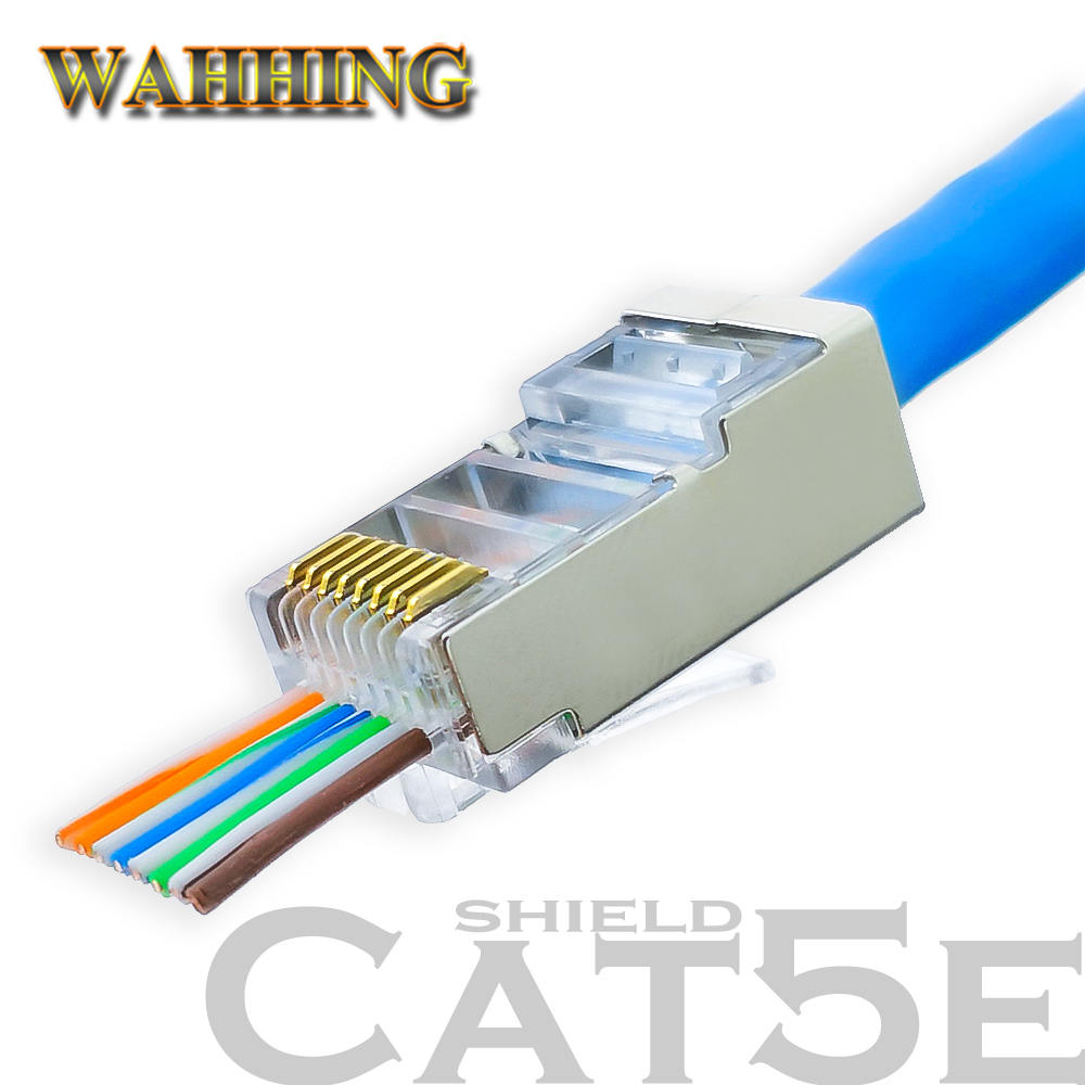 Wiring Cat5 Wall Socket 50 100pcs Rj45 Connector Cat5e Network 8p8c Metal Shielded Modular Plug Terminals Have Hole Hy1550